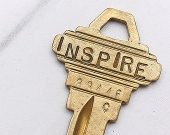INSPIRE key - hand stamped key necklace or keychain - A gift for you or your awesome friend!