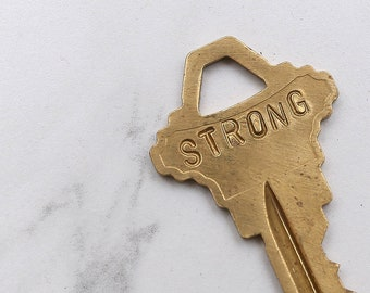 STRONG hand stamped key necklace or keychain - A gift for you or your awesome friend! - Strength