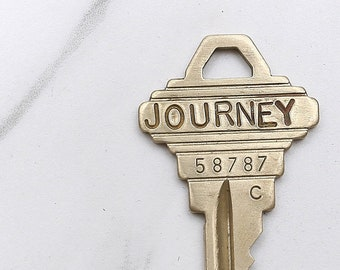 JOURNEY key - hand stamped key necklace or keychain - A gift for you or your awesome friend!