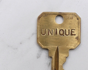 UNIQUE hand stamped key necklace or keychain - A gift for you or your awesome friend! - One of a kind