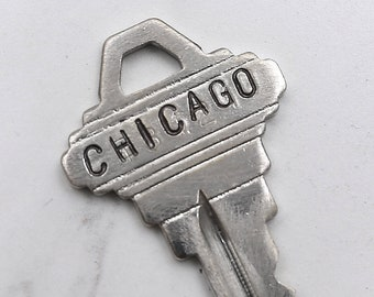 CHICAGO Illinois key - hand stamped key necklace or keychain - A gift for you or your awesome friend!