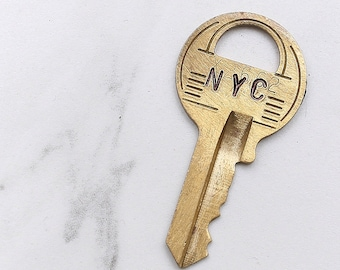 NYC - New York City key - hand stamped key necklace or keychain - A gift for you or your awesome friend!