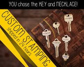 Stamped Key Necklace - YOU choose the key and necklace - Multiple necklace, cord, and color choices. Endless Posibilities