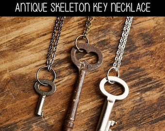 Antique Vintage Skeleton Key Necklace - YOU choose the necklace color and we pick a cool old key to match! - Multiple necklace choices.