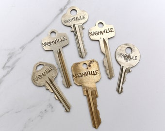 NASHVILLE TENNESSEE key - hand stamped key necklace or keychain - A gift for you or your awesome friend!