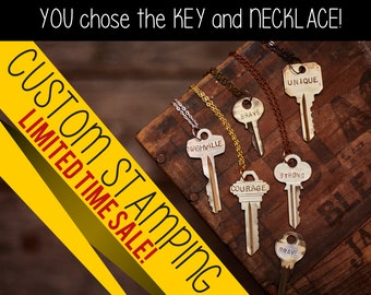 Stamped Key Necklace - YOU choose the key and necklace! - Multiple necklace, cord, and color choices. Endless Posibilities!
