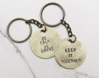 GUSTER Song Lyrics Keychain - stamped key keychain - Available Hand Hammered - Music, Band, Records, Keep It Together, Be Calm Be Brave