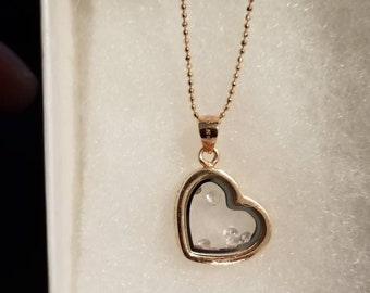 Heart Charm Necklace with Crystal