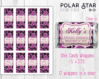 paisley ornament persian pickles custom bridal shower mini candy wrappers diy printable digital file
