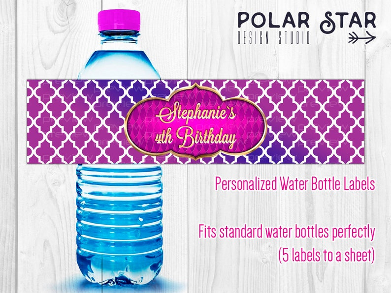 e3142be3e5e1 Moroccan Style Personalized Water Bottle Labels for Birthday