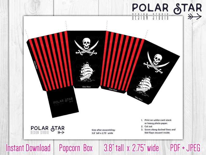 image regarding Pirate Flag Printable known as Jolly Roger, Pirate Flag - Popcorn Box - black crimson striped, send out, sweets, boy, occasion, sweet, birthday - Do-it-yourself Printable Electronic Data files PB16