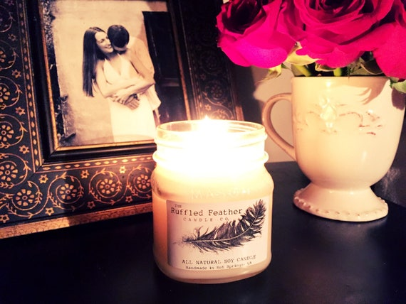 Midnight Teakwood Soy Candle, All Natural Soy Candle, 10oz, The Master  Suite @ The Ruffled Feather Candle Co.