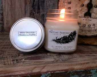 White Chocolate Raspberry Truffle Soy Candle, All Natural Soy Candle, 10oz, The Bakery @ The Ruffled Feather Candle Co.
