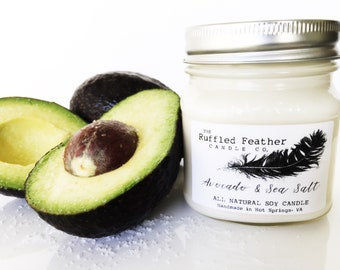 Avocado & Sea Salt Soy Candle, The Spa, All Natural Soy Candle, 10oz, The Spa @ The Ruffled Feather Candle Co.