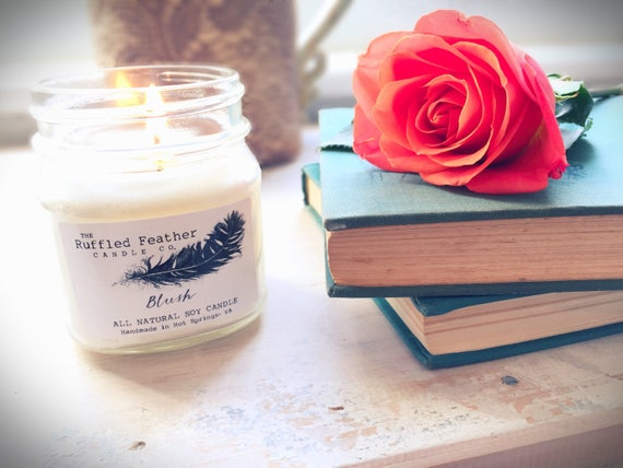Blush, All Natural Soy Candle, 10oz, The Master Suite @ The Ruffled Feather  Candle Co., Sensual and sweet scent for the bedroom
