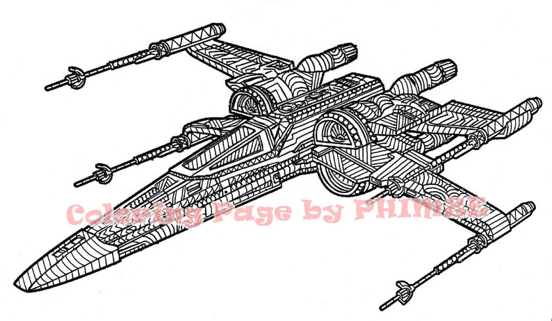 X Wing Starfighter Star Wars Star Wars Coloring Page Etsy