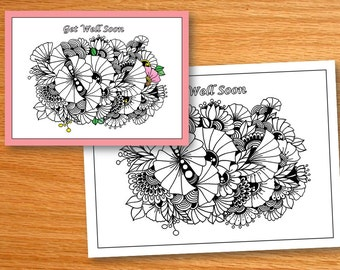 Get Well Soon,  Adult Coloring pages, Zentangle Art, PDF Zentangle Coloring Page, Coloring Book, Instant download, printable coloring page