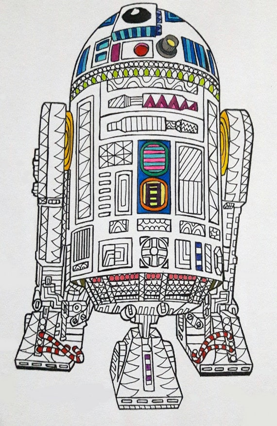 R2-D2 Star Wars Coloring Page Star Wars Coloring Page Etsy