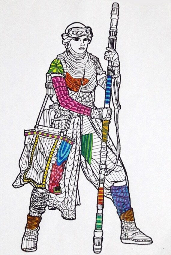 Rey Star Wars Coloring Page Star Wars Coloring Pages Adult Coloring Pages Star Wars The Force Awakens PDF Zentangle Coloring Page