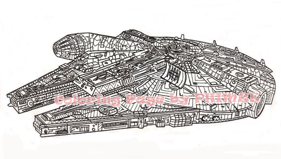 Millennium Falcon, Star Wars Coloring page, Coloring pages, Adult Coloring  pages,Pen and Ink Art, PDF Zentangle Coloring Page