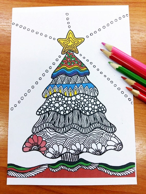 Zentangle Christmas Tree Coloring Pages Adult Coloring Etsy