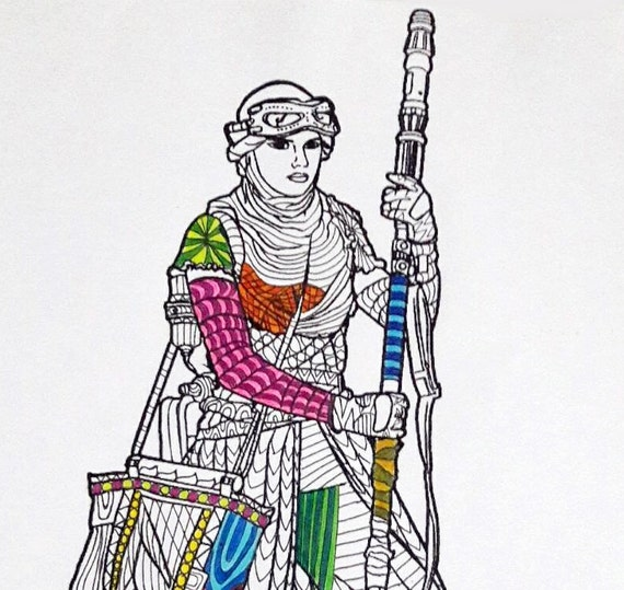 Rey Star Wars Coloring Page Star Wars Coloring pages Adult | Etsy