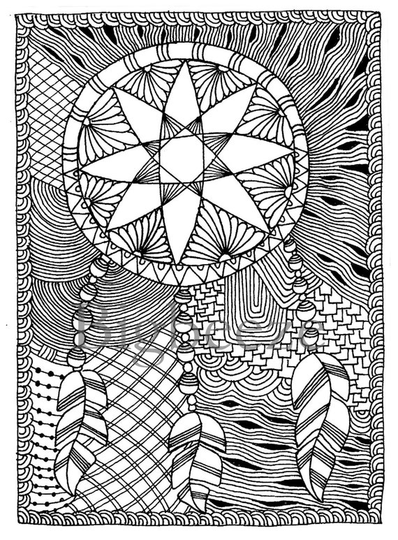 Zentangle Dreamcatchercoloring Pages Adult Coloring Pages Etsy