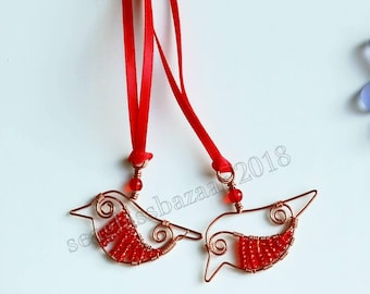 Robin necklace pendant, hanging gift  keepsake, Bereavement, Christmas gift, bird necklace  cake topper, embellishment, wreath
