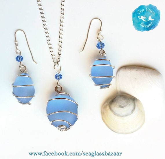 GORGEOUS in BLUE GLASS Necklace and Earrings Set