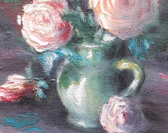 """Roses in pitcher - original oil painting 5.9"""" x 5.9"""""""