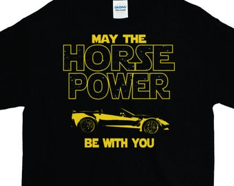 Fast Car T Shirt Guy Gift Cool Horse Power Sci Fi Lover Tee Birthday Silhouette Graphic