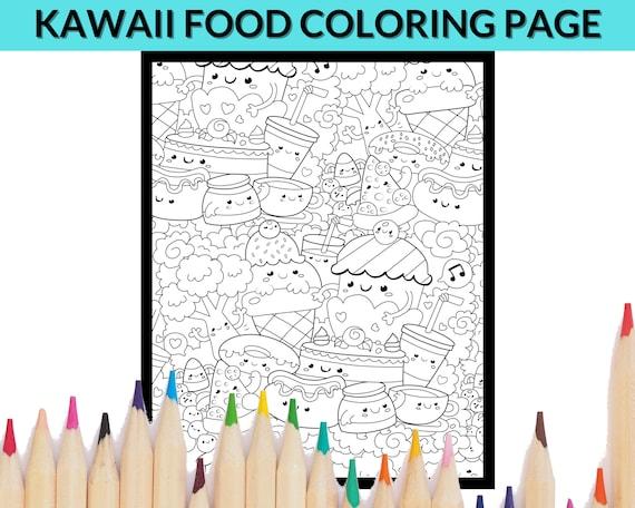Kawaii Food Doodle Coloring Page Printable Coloring Sheet