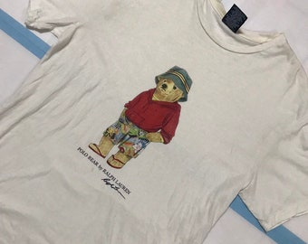 78933ba371e13 Vintage 90s Polo Bear By Ralph Lauren T Shirt Stadium Snowbeach Hi Tech 1992  1993 P Wing Size M L