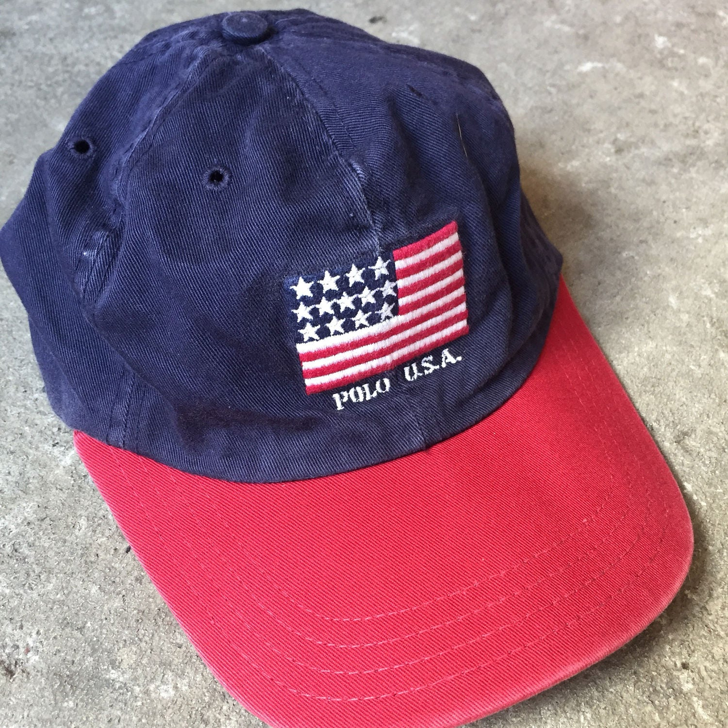 Vintage 90s Polo ralph lauren USA flag logo hat made in USA  be61903387d67