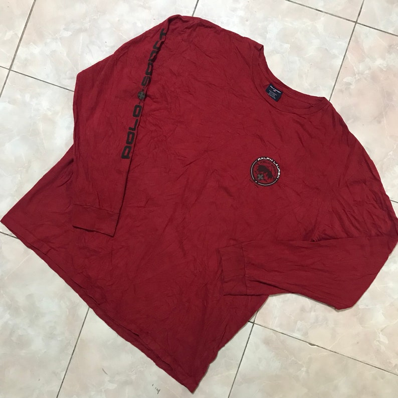a7c58d76a Vintage 90s Polo sport ralph lauren spell out long sleeve Size