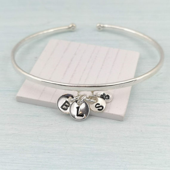 Personalised Positive Thoughts Cuff Mental Health One Day at a Time Sterling Silver Hallmarked