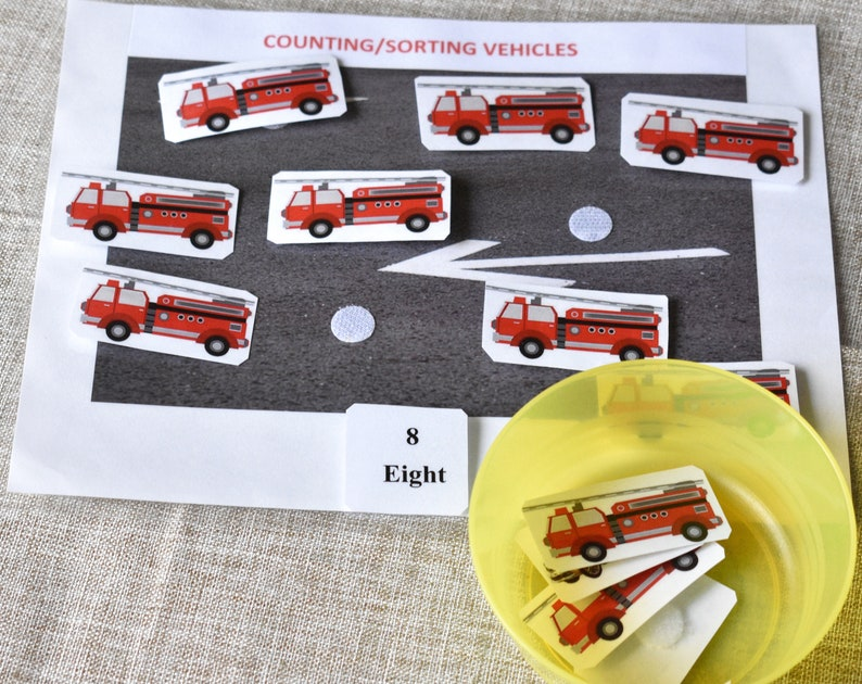 Real Photos,Preschool Mat,Autism Activity Vehicles Counting Game Toddler Activity,Learn Sorting Sorting Game Learn Counting