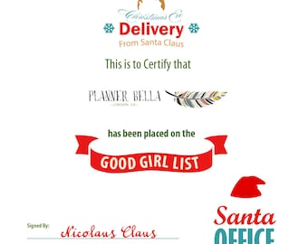 Christmas Good Girl List Printable Certificate