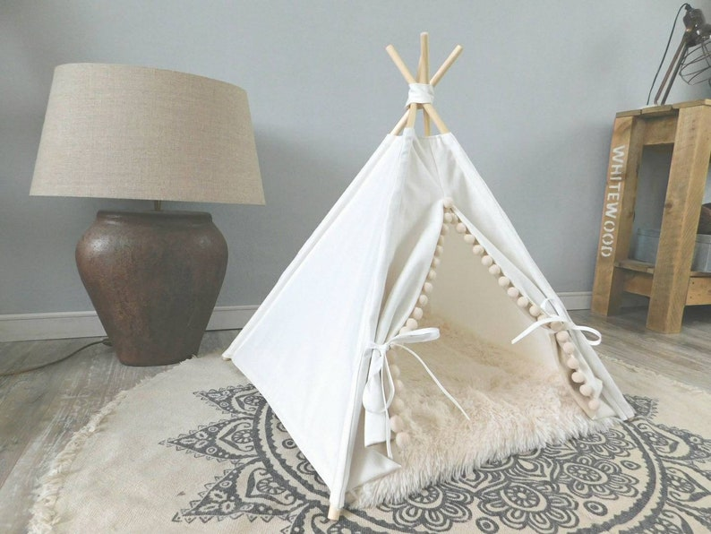 Pet teepee including fake fur or linen pillow tent tipi image 0