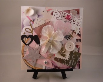 "Original Mixed Media Collage Art, 5x5, Canvas, ""Beautiful,"" Baby Girl"