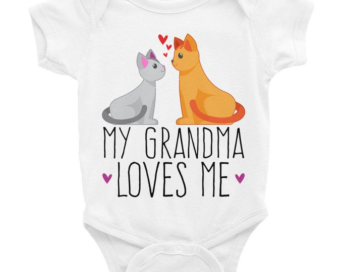 Gift for Granddaughter, Loved by Grandma, My Grandma Loves Me Nappy, Infant Bodysuit | Cute Grandchild Onsie | Cute Nappy Cat and Kitty |