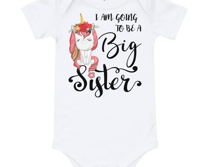 Unicorn Big Sister Outfit, I am going to be a BIG Sister, Unicorn Big Sister Shirt, Big Sister Shirt, Cute Unicorn Toddler Bodysuit