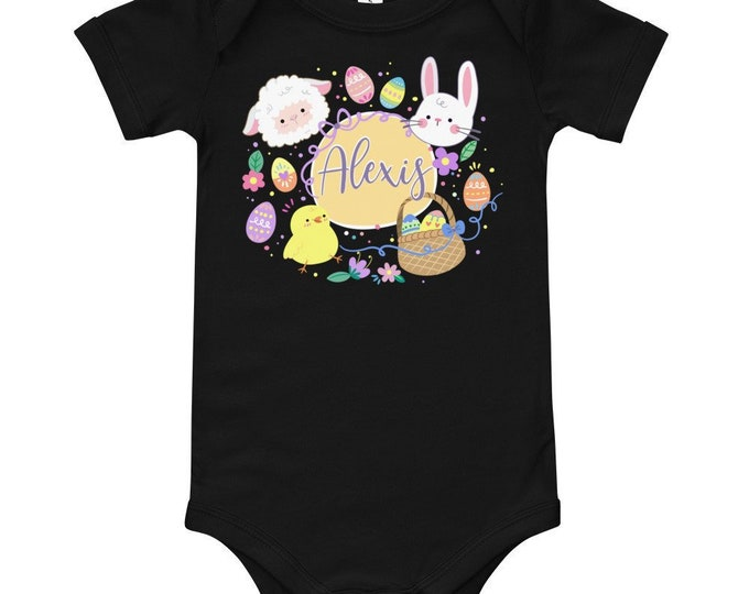 Custom Baby Shirt with Cute Animals and Easter Element Wreath