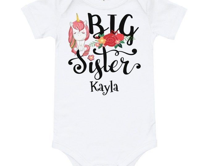 Custom Big Sister T-Shirt Bodysuit Unicorn and Floral Print