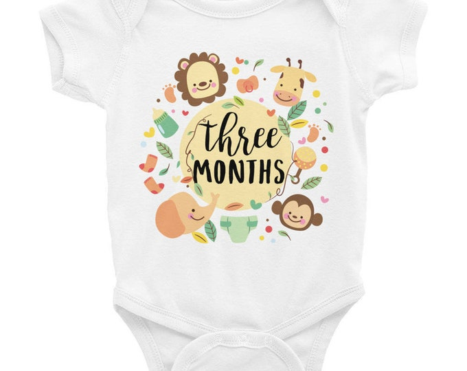 Milestone Nappy , Cute Baby Onsie Three Months Cute Animals, Adorable milestones Bodysuits for baby, Month Old snapsuit, Monthly Bodysuits