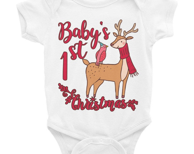 Baby's First Christmas | My Fist Christmas Infant Bodysuit | 1st Christmas  with Reindeer Baby Clothes