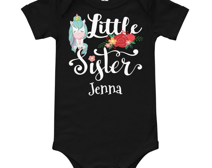 Personalized Little Sister  with Unicorn and Flowers Shirt
