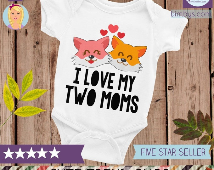 LGBT Mom Fox Baby Bodysuit | Gay Mom, I Love my Mom Onsie, Cute baby Clothes | Baby Shirts, Gender Nuetral