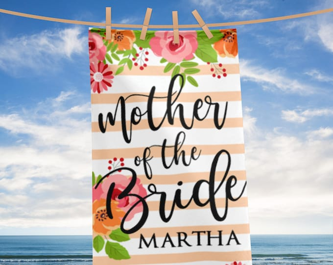 Personalized Name Mother of the Bride Towel | Custom Wedding Beach Towel | Mother of bride Gift | mother-of-the-bride | BEACH TOWELS custom
