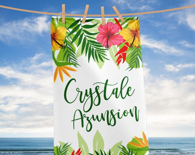 Tropical Leaves and Flowers Beach Towel with Custom Name and Last Name, personalized towel, beach towel, beach towels, personalized beach